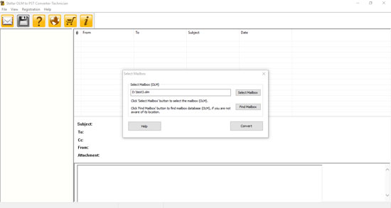 Click to view Stellar OLM to PST Converter Tech 3.0 screenshot
