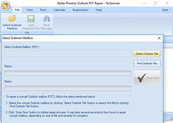 Click to view Stellar Phoenix Outlook PST Repair Tech 8.0 screenshot