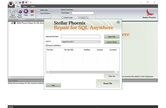 Click to view Stellar Phoenix Repair for SQL Anywhere 2.0 screenshot